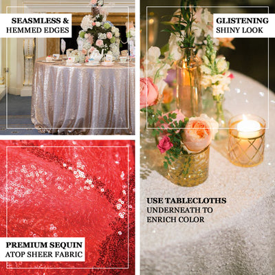 "120"" White Premium Sequin Round Tablecloth"