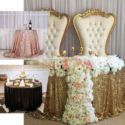120 inches Rose Gold|Blush Premium Sequin Round Tablecloth