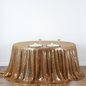 "132"" Gold Premium Sequin Round Tablecloth"