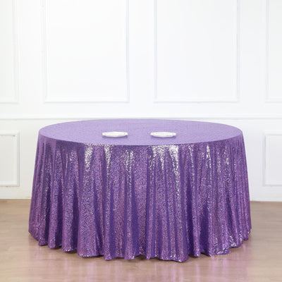 "132"" Purple Premium Sequin Round Tablecloth"
