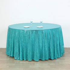 "132"" Turquoise Premium Sequin Round Tablecloth"