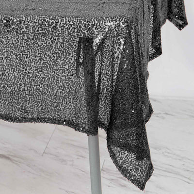"54"" x 54"" Black Premium Sequin Square Tablecloth"