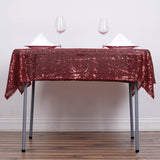 "54"" x 54"" Burgundy Premium Sequin Square Tablecloth"