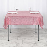 "54"" x 54"" Pink Premium Sequin Square Tablecloth"
