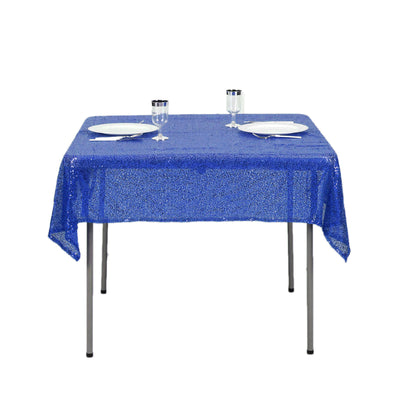 "54"" x 54"" Royal Blue Premium Sequin Square Tablecloth"