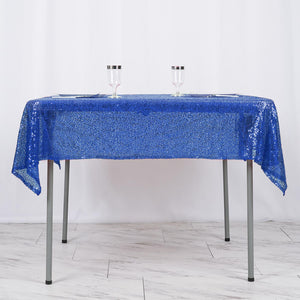 54 inch x 54 inch Royal Blue Premium Sequin Square Tablecloth