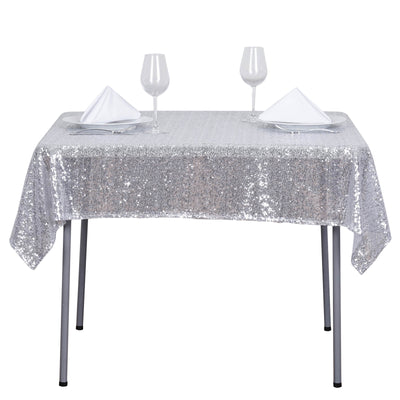 54 inch x 54 inch Silver Premium Sequin Square Tablecloth#whtbkgd