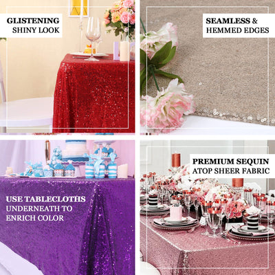 60 inch x 102 inch Burgundy Premium Sequin Rectangle Tablecloth