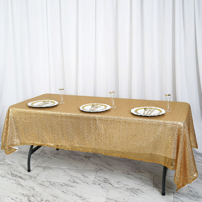 "60""x102"" Gold Premium Sequin Rectangle Tablecloth"
