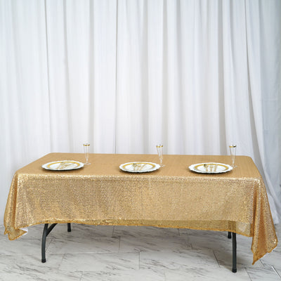 "60""x 102"" Gold Sequin Handmade Rectangle Party Wedding Tablecloth"