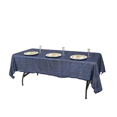 "60""x 102"" Navy Blue Sequin Handmade Rectangle Party Wedding Tablecloth"