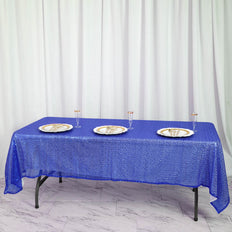 "60""x102"" Royal Blue Premium Sequin Rectangle Tablecloth"