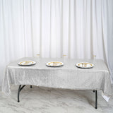 "60""x102"" Silver Premium Sequin Rectangle Tablecloth"
