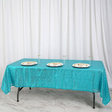 "60""x102"" Turquoise Premium Sequin Rectangle Tablecloth"