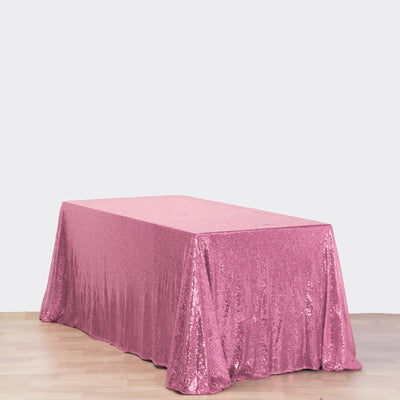 "90x132"" Wholesale Pink Sequin Rectangle Tablecloth For Banquet Wedding Party"