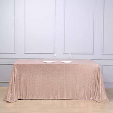 90 inch x 132 inch Rose Gold | Blush Premium Sequin Rectangle Tablecloth