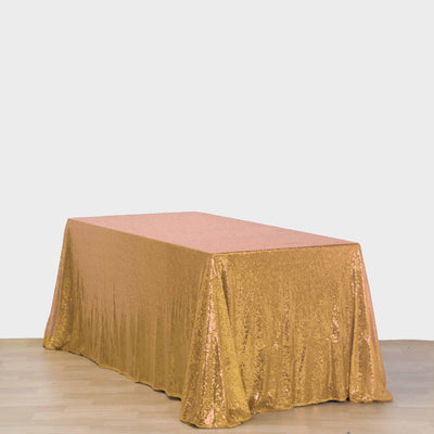 "90x132"" Wholesale Gold Sequin Rectangle Tablecloth For Banquet Wedding Party"