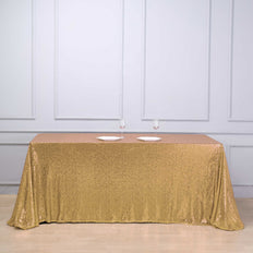 90 inch x 132 inch Gold Premium Sequin Rectangle Tablecloth