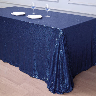 90 inch x 132 inch Navy Blue Premium Sequin Rectangle Tablecloth