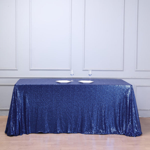 "90""x132"" Navy Blue Premium Sequin Rectangle Tablecloth"