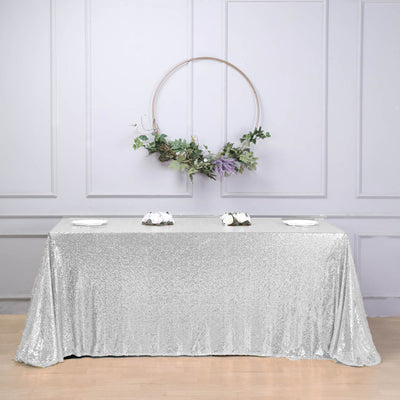 "90x132"" Wholesale Silver Sequin Rectangle Tablecloth For Banquet Wedding Party"
