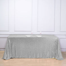 90 inch x 132 inch Silver Premium Sequin Rectangle Tablecloth