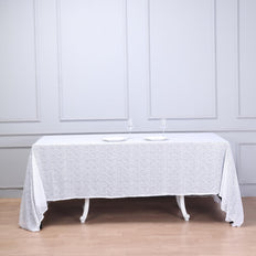 90 inch x 132 inch White Premium Sequin Rectangle Tablecloth