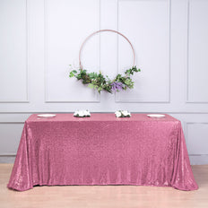 "90""X156"" Pink Premium Sequin Rectangle Tablecloth"