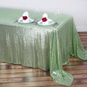 "90x156"" Wholesale Premium Tea Green Sequin Rectangle Tablecloth For Banquet Wedding Party"