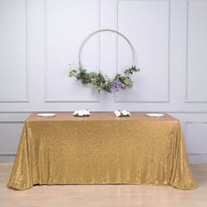 "90""x156"" Gold Premium Sequin Rectangle Tablecloth"