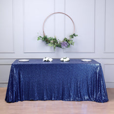 "90""x156"" Navy Blue Premium Sequin Rectangle Tablecloth"