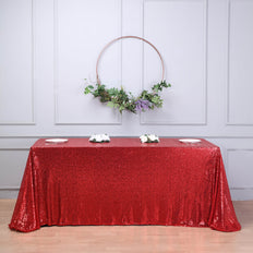 "90x156"" Red Premium Sequin Rectangle Tablecloth"