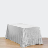 "90x156"" Wholesale Premium SEQUIN Tablecloth For Banquet Wedding Party - Silver"