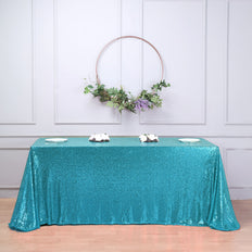 "90x156"" Turquoise Premium Sequin Rectangle Tablecloth"