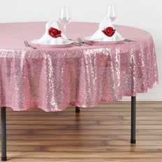 "90"" Pink Premium Sequin Round Tablecloth"