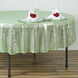 "90"" Tea Green Premium Sequin Round Tablecloth"