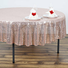 "90"" Wholesale Premium SEQUIN Round Tablecloth For Wedding Banquet Party - Blush"