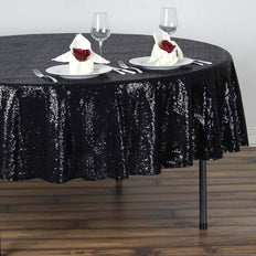 "90"" Wholesale Premium SEQUIN Round Tablecloth For Wedding Banquet Party - Black"