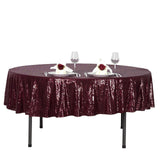 "90"" Burgundy Premium Sequin Round Tablecloth"