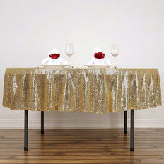 "90"" Wholesale Premium SEQUIN Round Tablecloth For Wedding Banquet Party - Champagne"