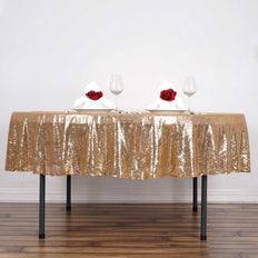 "90"" Wholesale Premium SEQUIN Round Tablecloth For Wedding Banquet Party - Gold"