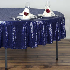 "90"" Navy Premium Sequin Round Tablecloth"
