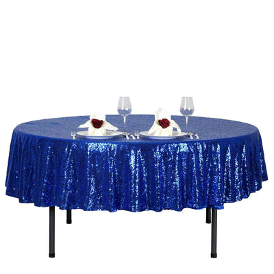 "90"" Royal Blue Premium Sequin Round Tablecloth"