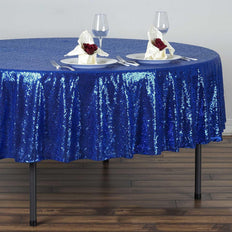 "90"" Wholesale Premium SEQUIN Round Tablecloth For Wedding Banquet Party - Royal Blue"