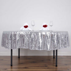 "90"" Silver Premium Sequin Round Tablecloth"