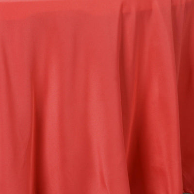 "108"" Coral Polyester Round Tablecloth"