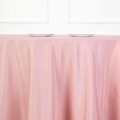 "108"" Dusty Rose Polyester Round Tablecloth"