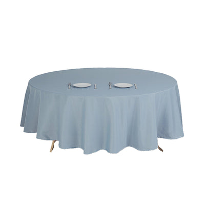 "108"" Dusty Blue Polyester Round Tablecloth"