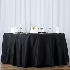 "108"" Black 220 GSM Seamless Premium Polyester Round Tablecloth"