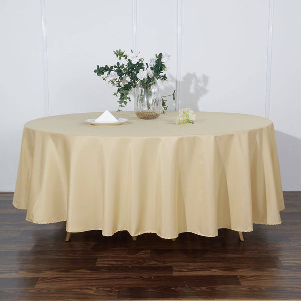 "108"" Champagne Polyester Round Tablecloth"